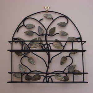 Black Iron Decorative Display Shelf Gold Leaves